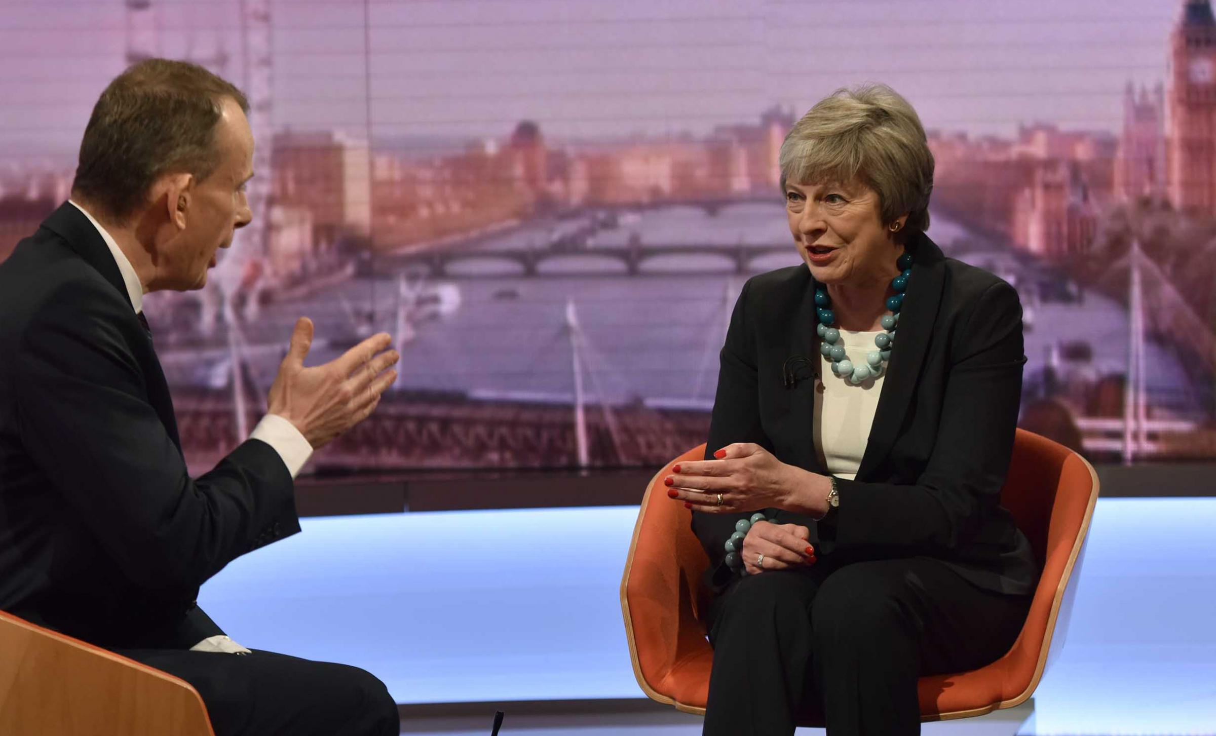 Theresa May told Andrew Marr the debate will start next week