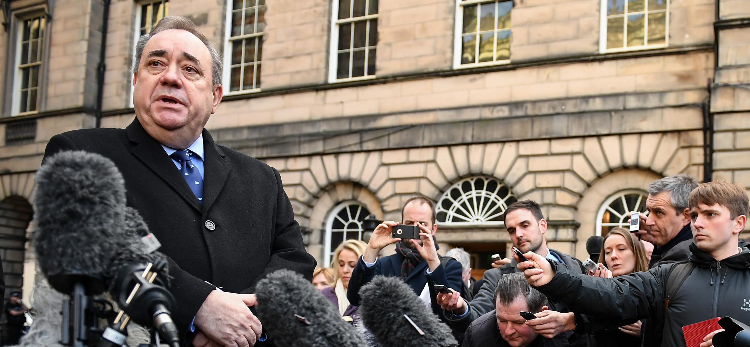 Alex Salmond speaks to the media outside the Court of Session