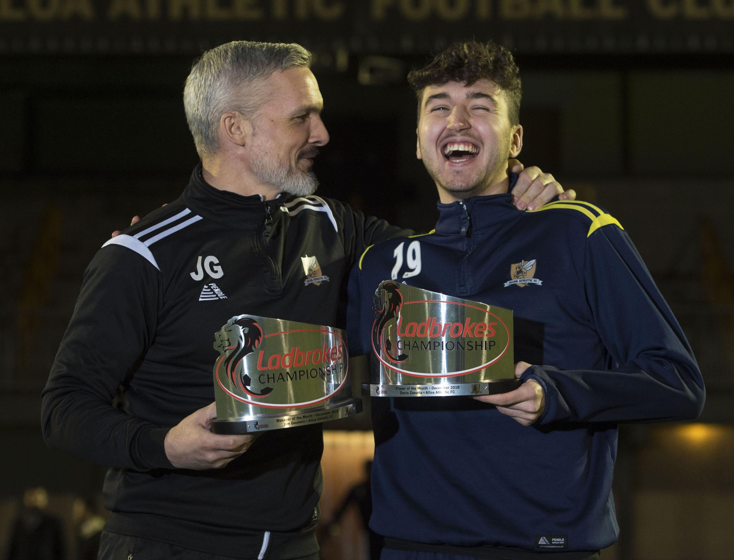 Alloa manager Jim Goodwin and forward Dario Zanatta received the Ladbrokes Championship Manager and Player of the Month awards for December