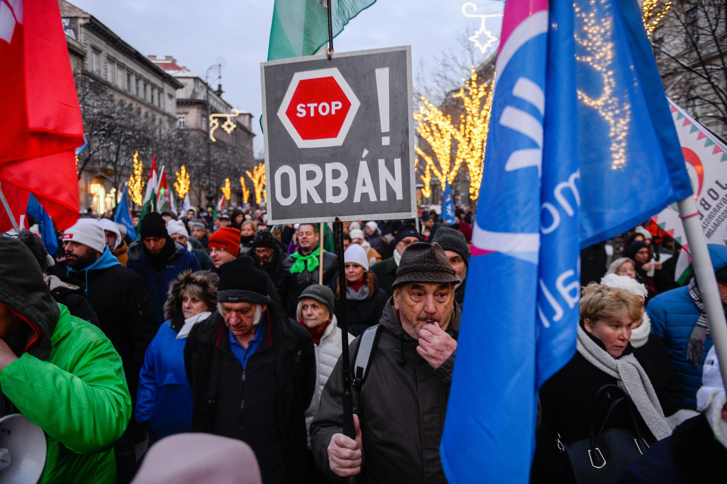 Hungarians took to the streets to oppose autocratic prime minister Viktor Orban