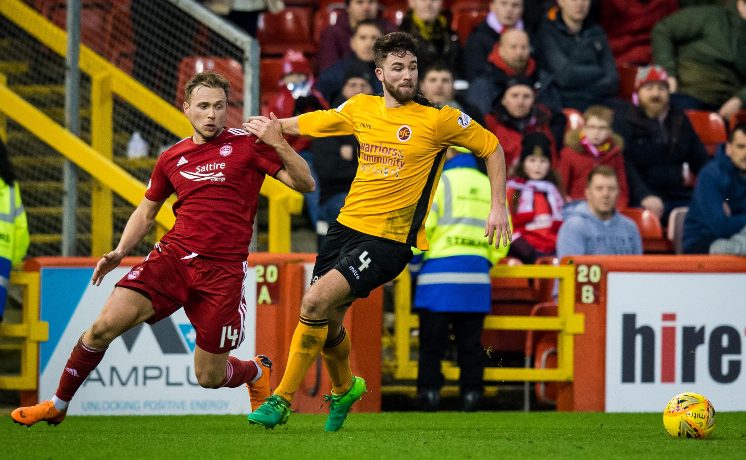 Greg Stewart makes his debut for Aberdeen against Stenhousemuir in the fourth round of the Scottish Cup