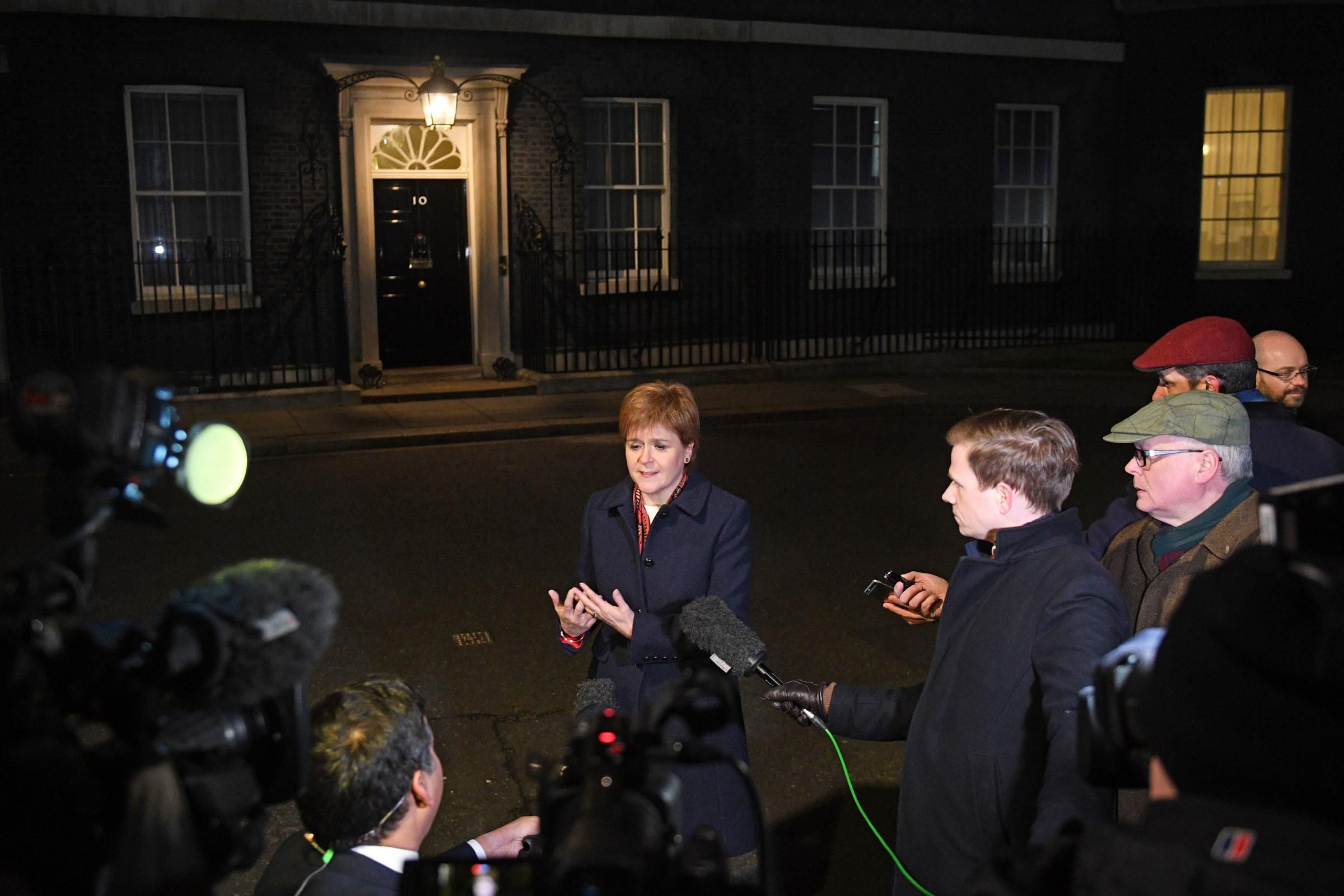 First Minister Nicola Sturgeon spoke to the media after a Brexit meeting in No 10