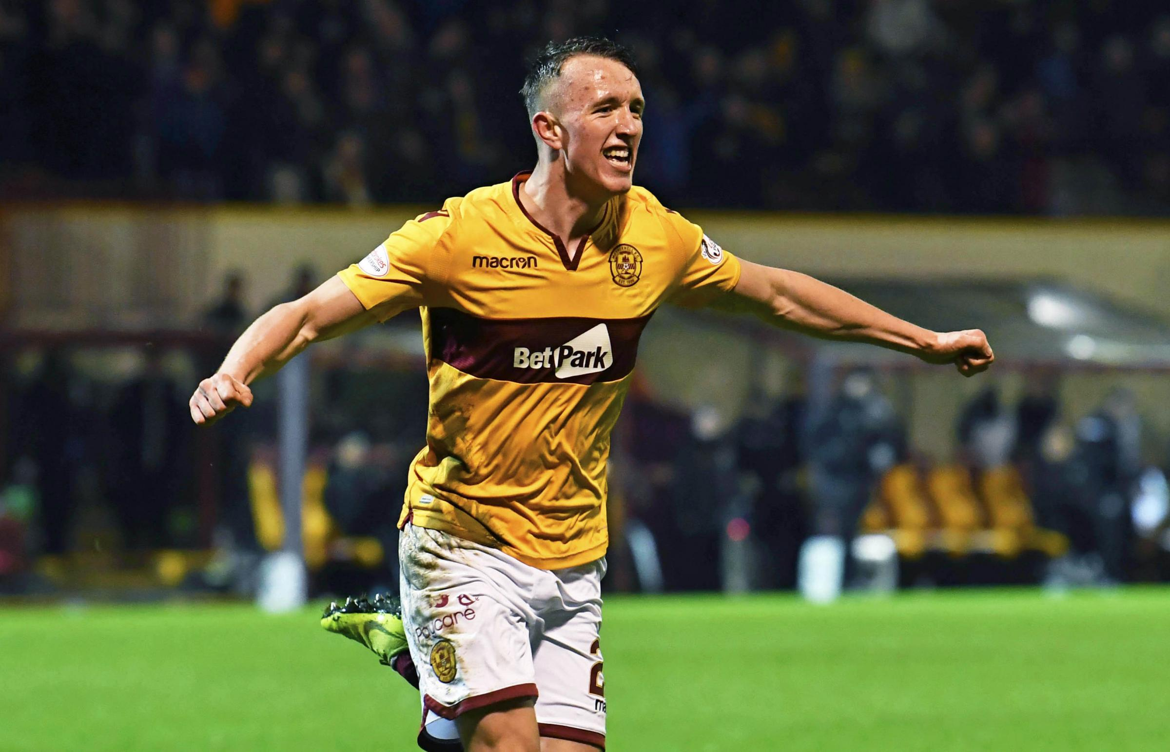 David Turnbull celebrates after scoring Motherwell's winner against Hibernian.