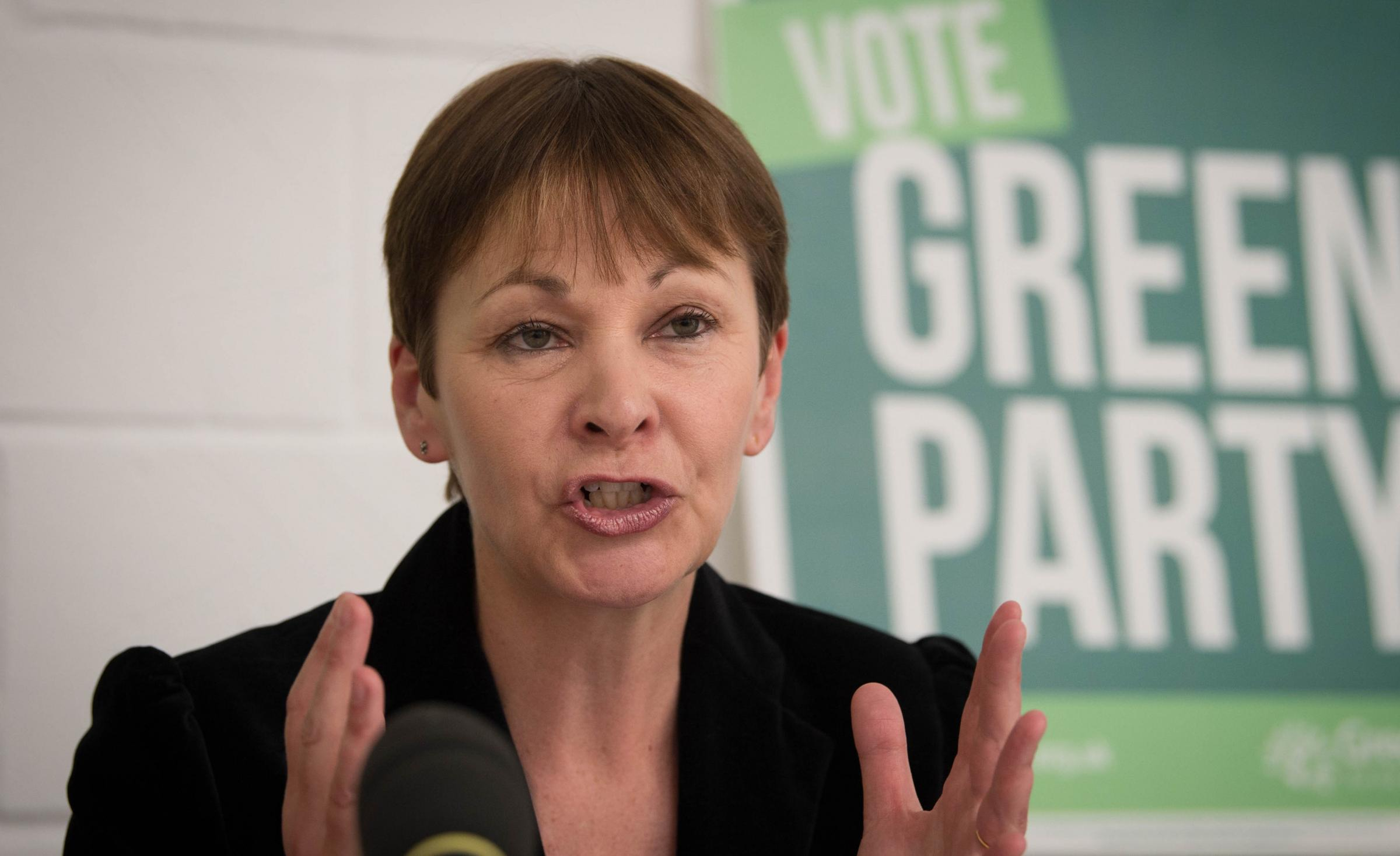 Green co-leader Caroline Lucas sits in front of DUP MPs