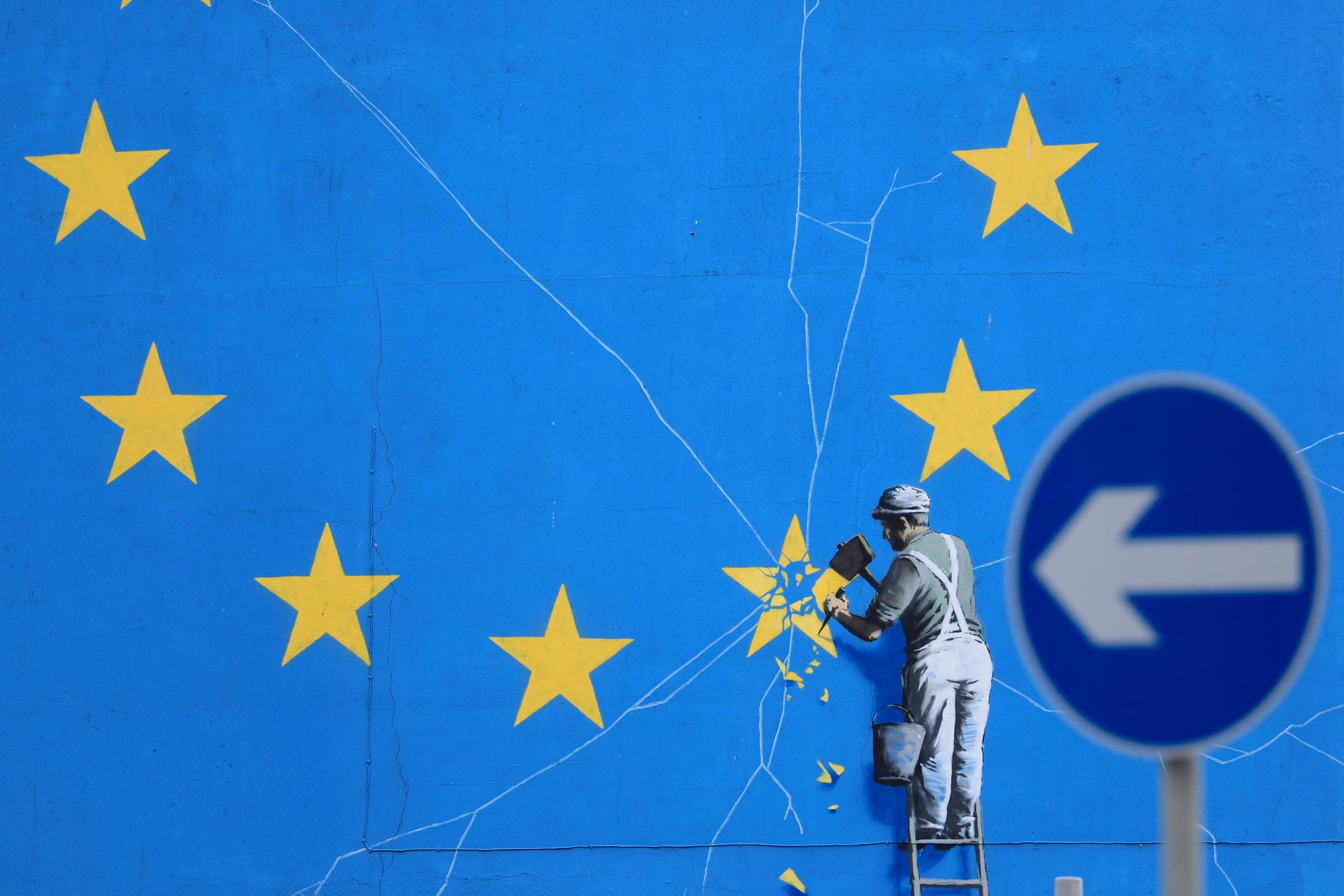 A view of the Brexit-inspired mural by artist Banksy in Dover, Kent
