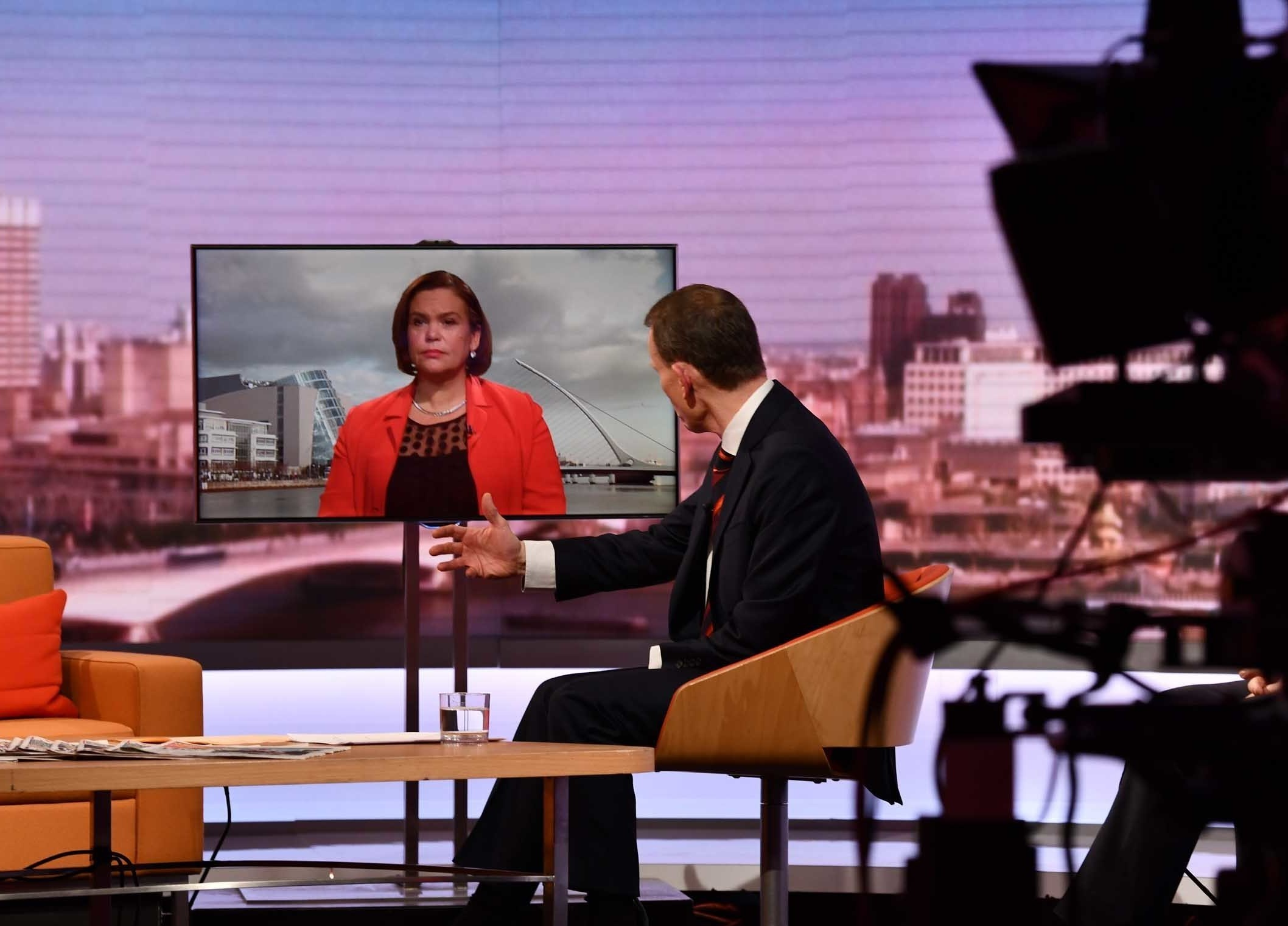Sinn Fein leader Mary Lou McDonald was interviewed for the Andrew Marr Show