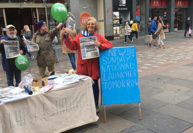 Pensioners for Independence at their stall on Argyle Street, Glasgow