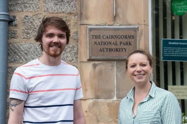 Ross Elder with Sian Jamie, digital campaigns officer at Cairngorms National Park Authority