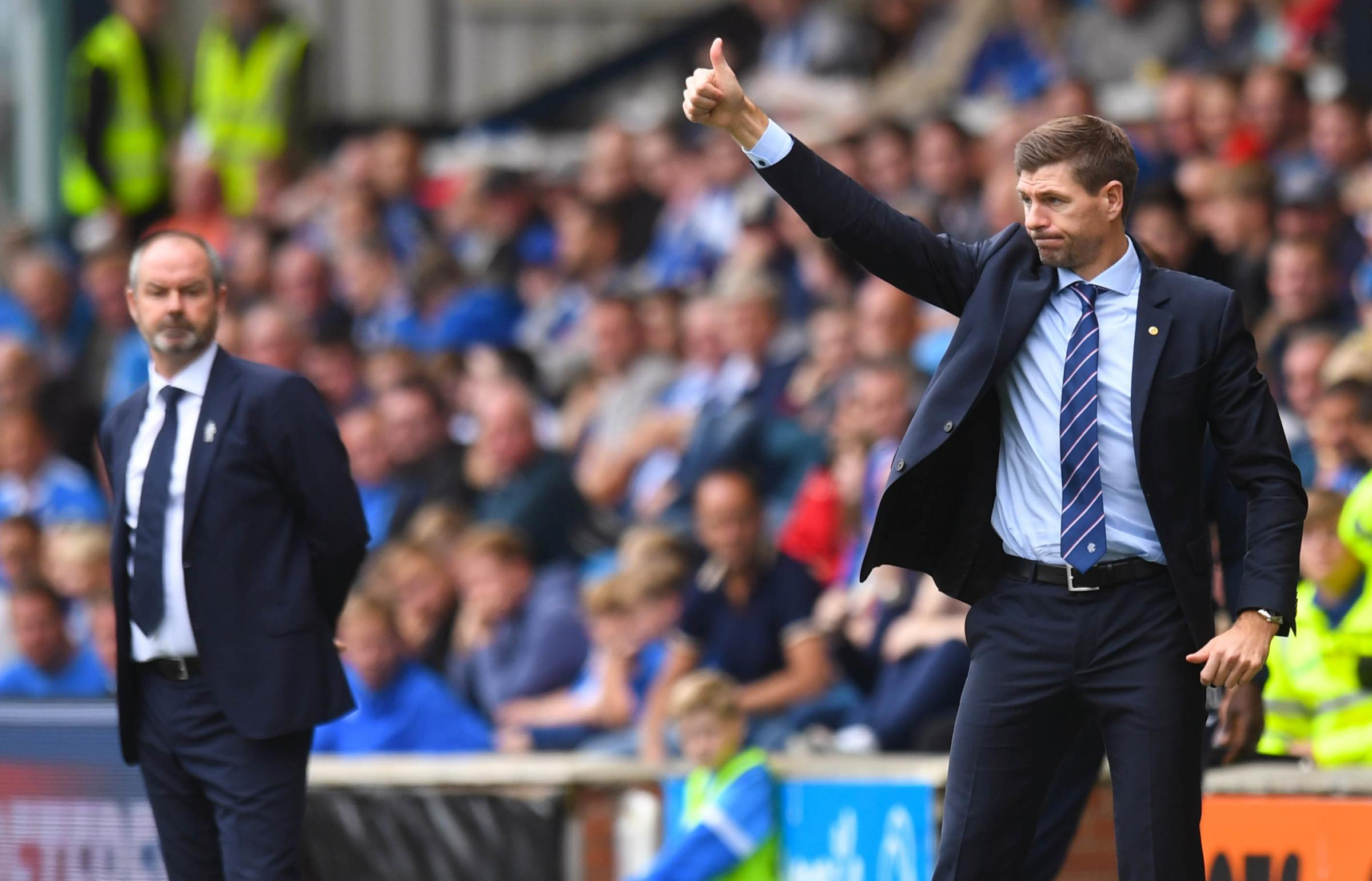 Steve Clarke, left, and Steven Gerrard at Ibrox earlier this season.