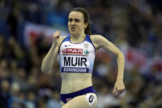Laura Muir on her way to winning the 3000m at Arena Birmingham