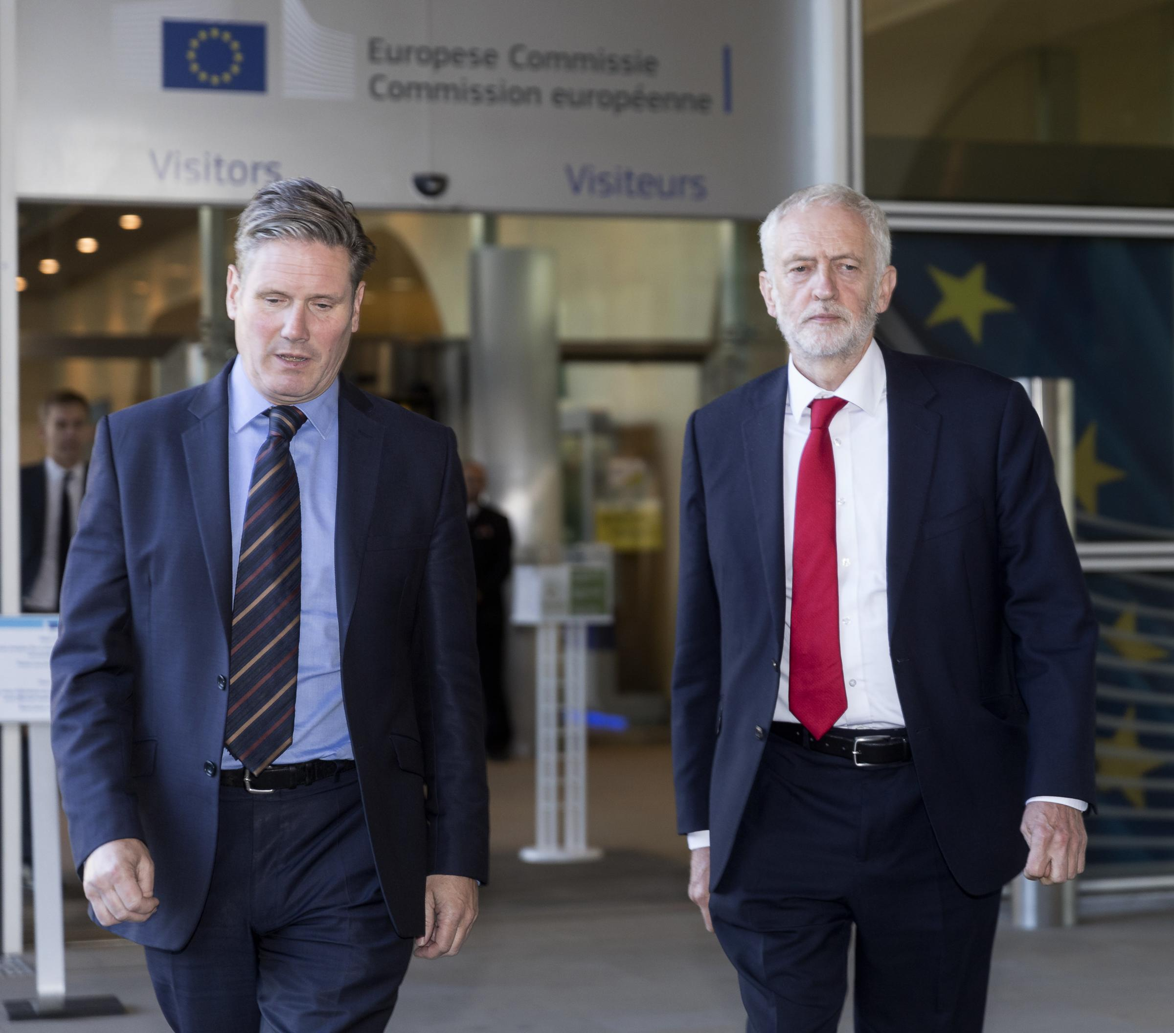 Lost on Europe: Labour's shadow Brexit secretary Keir Starmer and leader Jeremy Corbyn