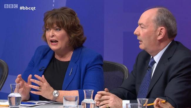 A former Ukip candidate was given more than a minute of uninterrupted airtime to rant at the SNP's Fiona Hyslop. Photograph: BBC