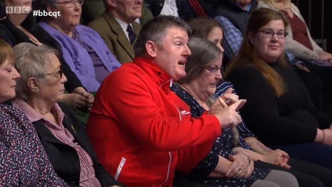 Question Time broadcast Billy Mitchell's full Unionist rant despite the response being interrupted by his shouting