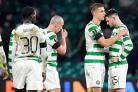 Celtic's Jozo Simunovic consoles team-mate Oliver Burke react after the final whistle during the UEFA Europa League round of 32, first leg match at Celtic Park, Glasgow. PRESS ASSOCIATION Photo. Picture date: Thursday February 14, 2019. See PA story