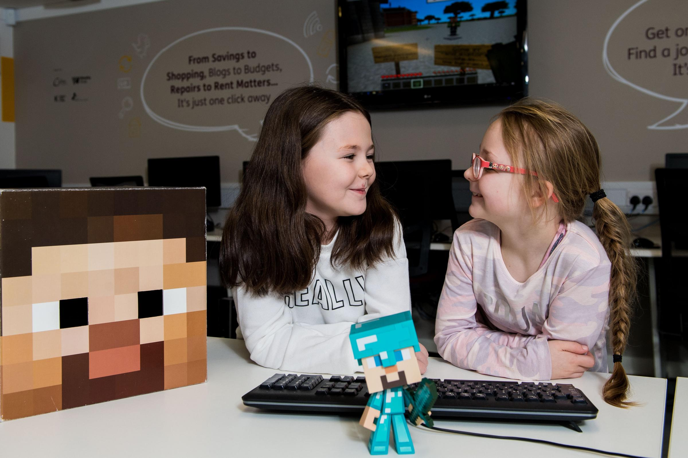 Sophie Greene and Sammy O'Neill enjoyed the launch of a new computer game to celebrate the history of the former army barracks of Maryhill