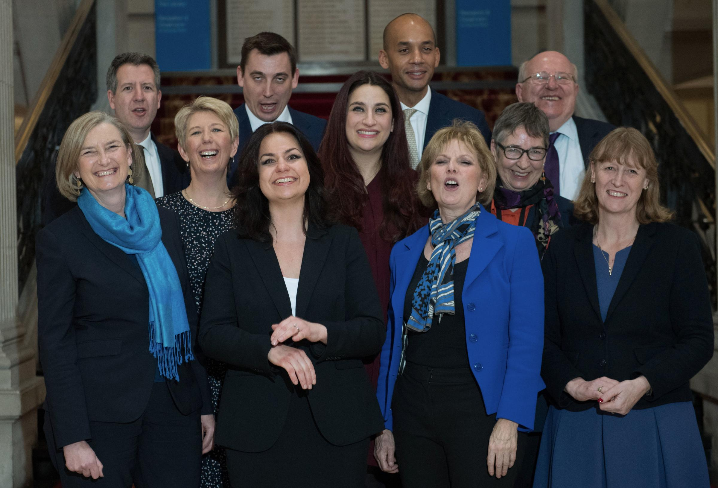 (back row left to right) Chris Leslie, Gavin Shuker, Chuka Umunna and Mike Gapes, (middle row, left to right) Angela Smith, Luciana Berger and Ann Coffey, (front row, left to right) Sarah Wollaston, Heidi Allen, Anna Soubry and Joan Ryan