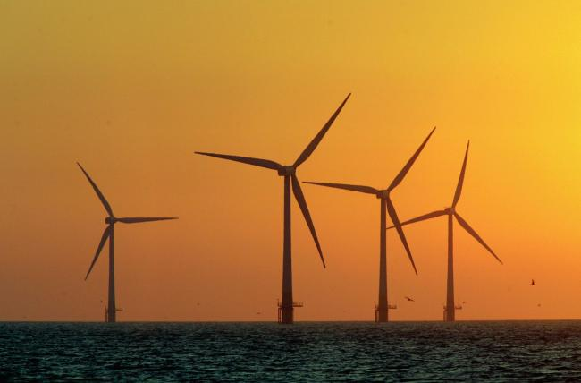 Offshore wind currently provides around 7% of British power. Photograph: Getty
