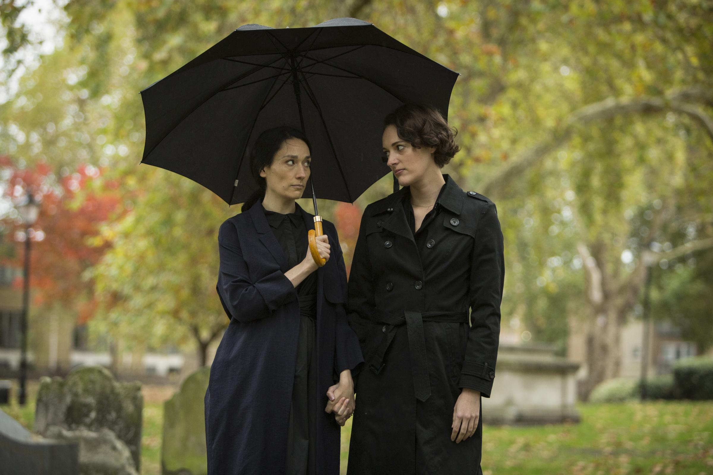 Phoebe Waller-Bridge as Fleabag (right) and Sian Clifford as Claire in Fleabag