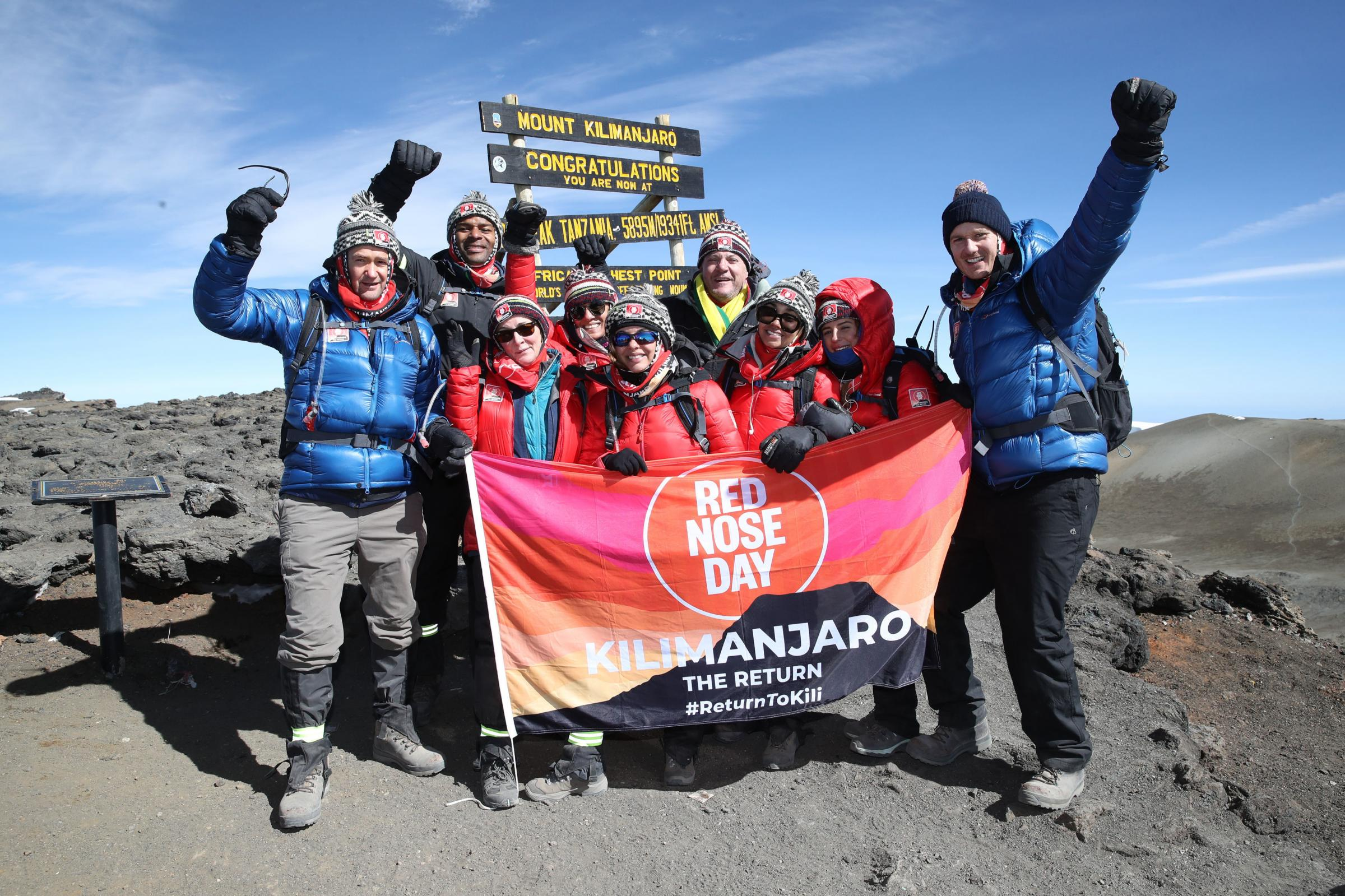 Alexander Armstrong, Osi Umenyiora, Dan Walker, Leigh-Anne Pinnock, Jade Thirlwall, Shirley Ballas, Ed Balls, Anita Rani and Dani Dyer have been climbing Africa's highest mountain in Tanzania to raise money for Comic Relief. Photograph: Chris Jackson