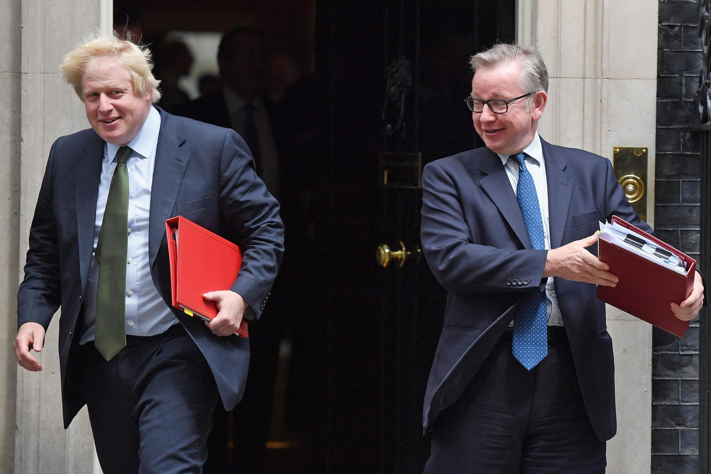Apparent contenders for the Tory leadership, Boris Johnson Michael Gove