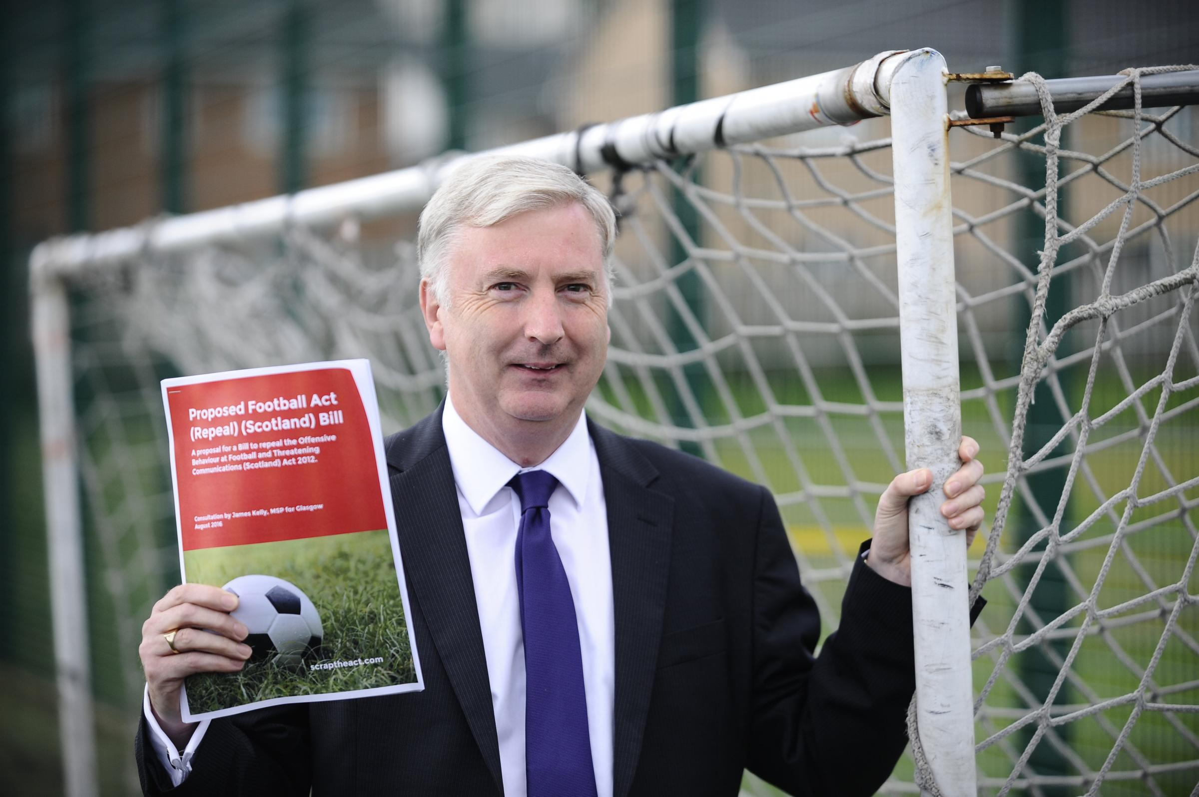 Scottish Labour MSP James Kelly launched a bill to scrap the Offensive Behaviour at Football Act. Photograph: Jamie Simpson