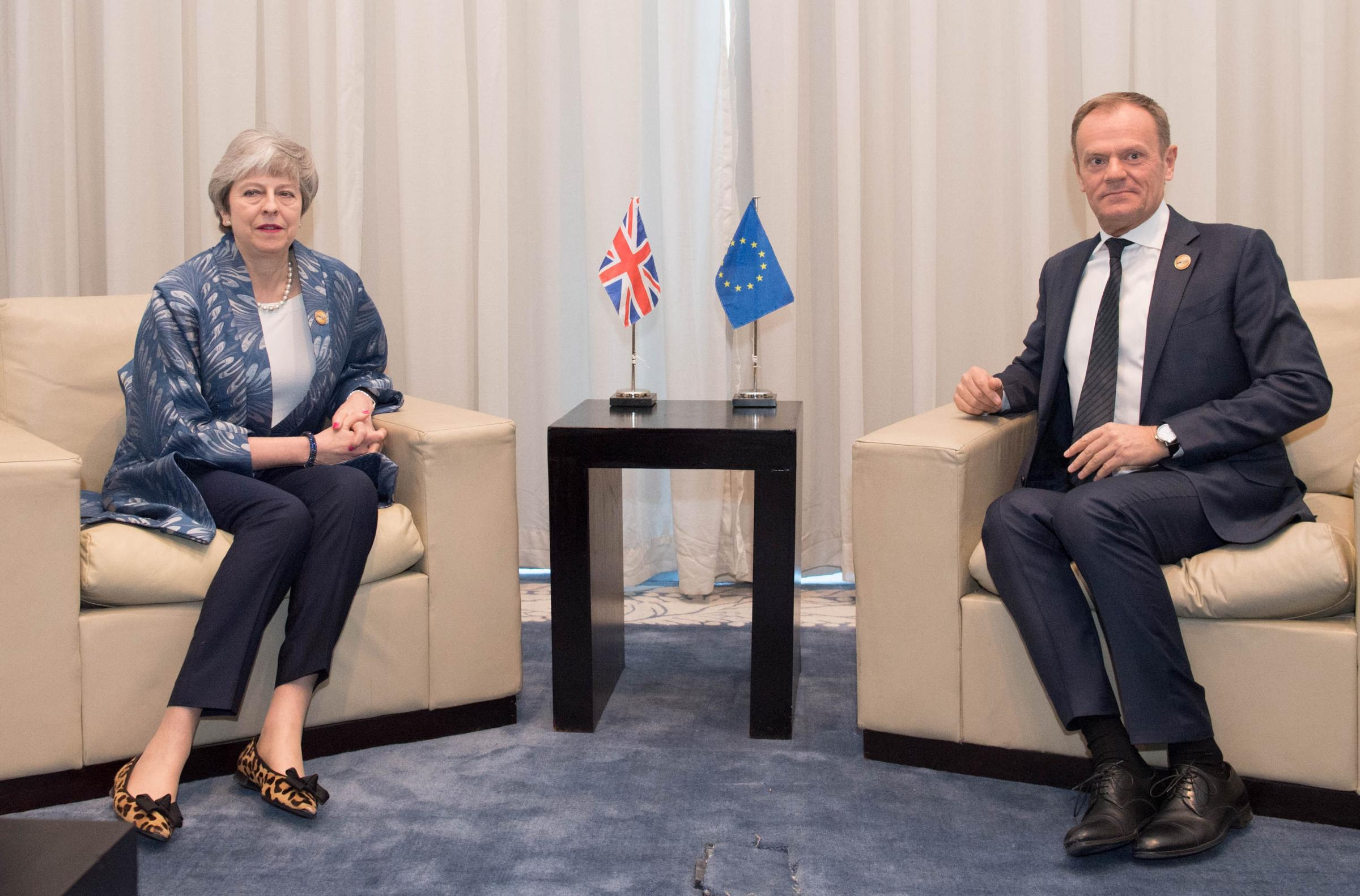 Theresa May, who is hoping to delay Brexit until June 30, and EU Council president Donald Tusk