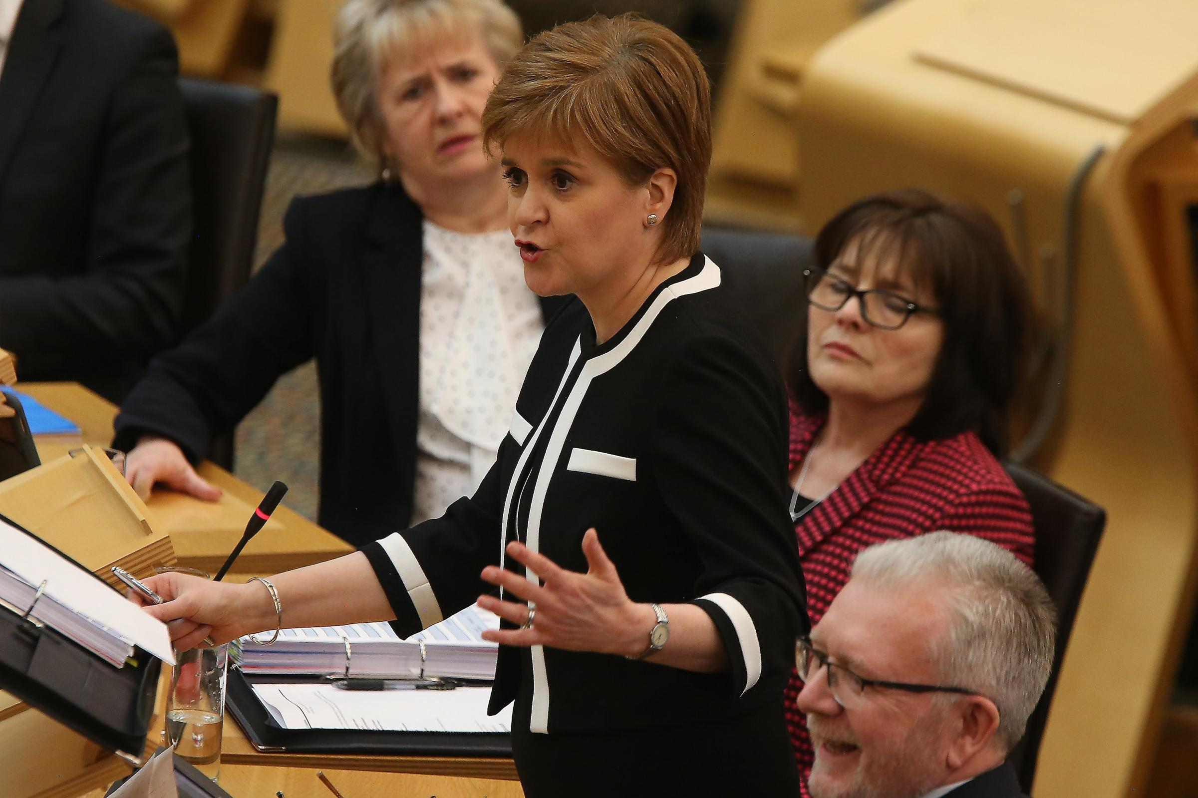 The SNP hit back, reminding the Tories that Nicola Sturgeon already has a mandate for a second referendum. Photograph: Gordon Terris