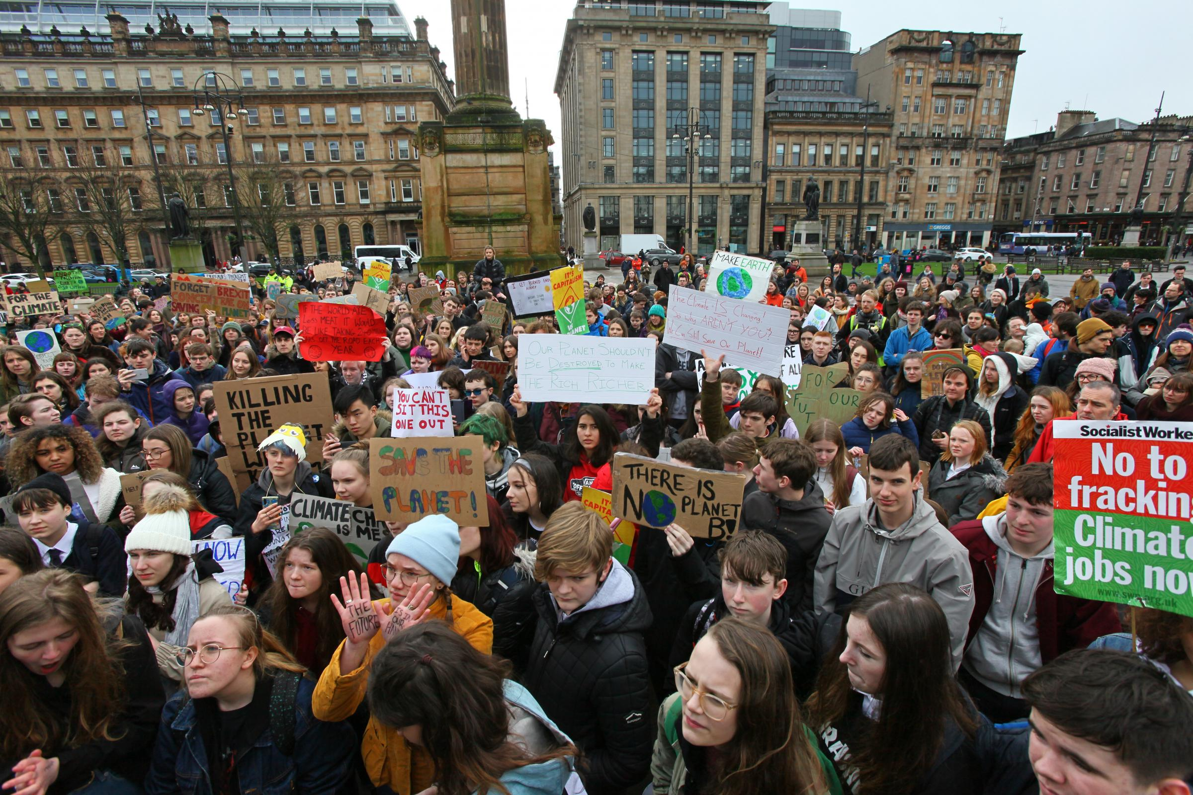 More than 2000 Scots gathered for a protest in Glasgow's George Square