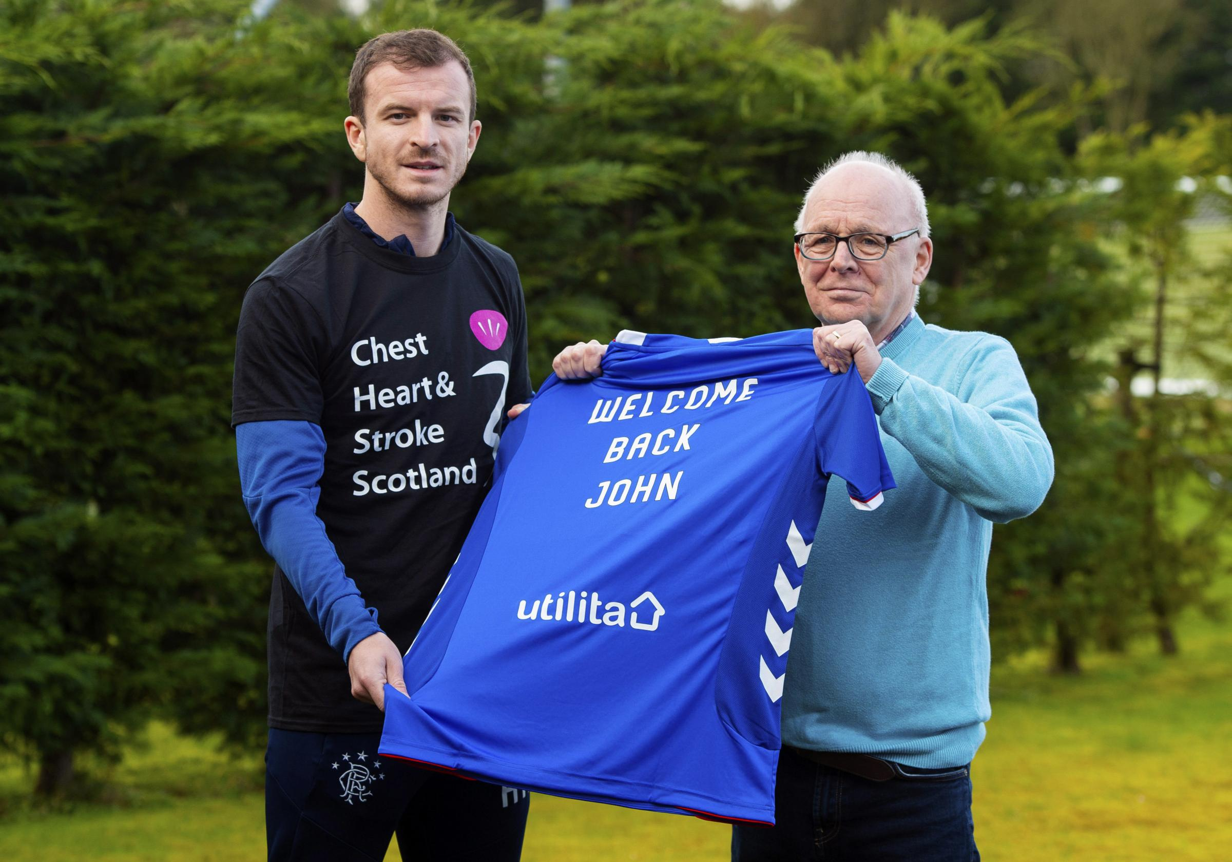 Rangers Charity Foundation celebrates its partnership with Chest, Heart and Stroke Scotland.Pictured: Rangers player Andy Halliday and fan John Sangster, who suffered a stroke in 2016 and will return to Ibrox for the first time this weekend.