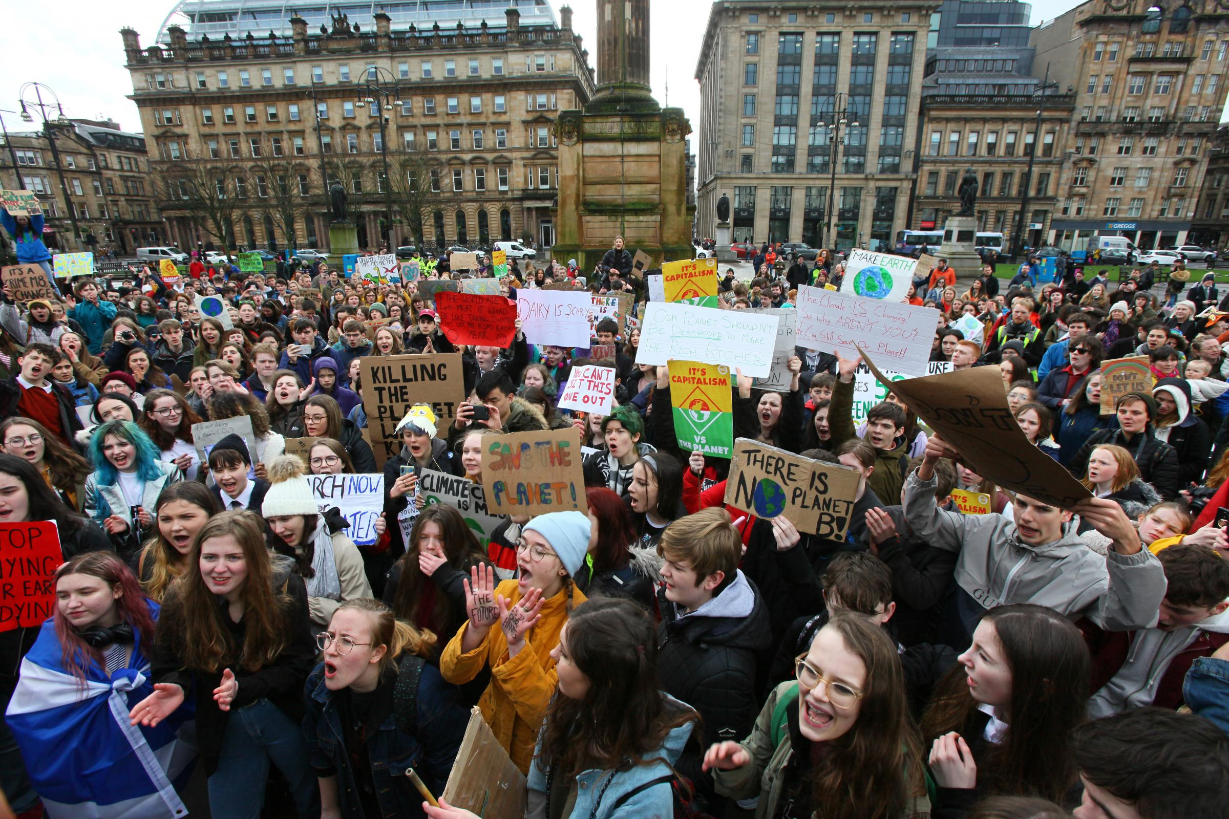 Youngsters have protested in Scotland and across the globe