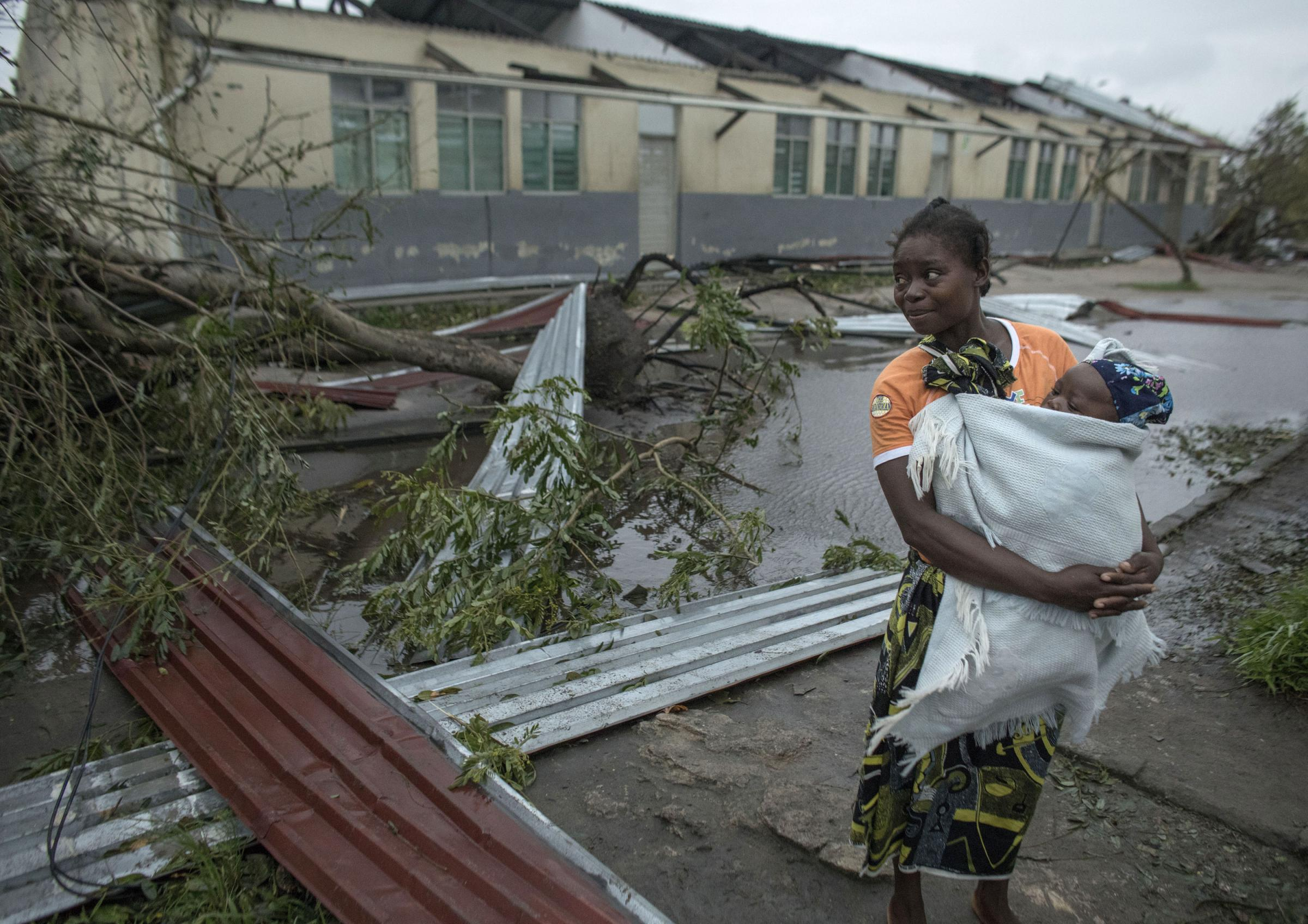 Cyclone winds in Mozambique have left many without homes