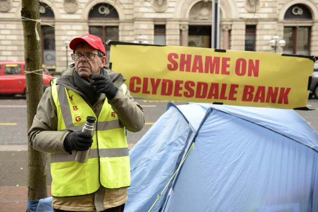 Businessman John Guidi, 63, is camped outside the headquarters of CYBG Banking Group
