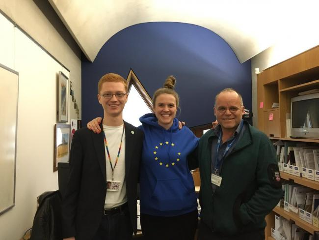 Ross Greer, left, and Andy Wightman, right, met with fellow Green politician Terry Reintke