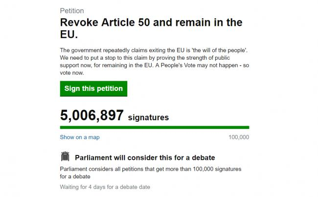 Petition to revoke Article 50 and remain in EU reaches 5 million signatures