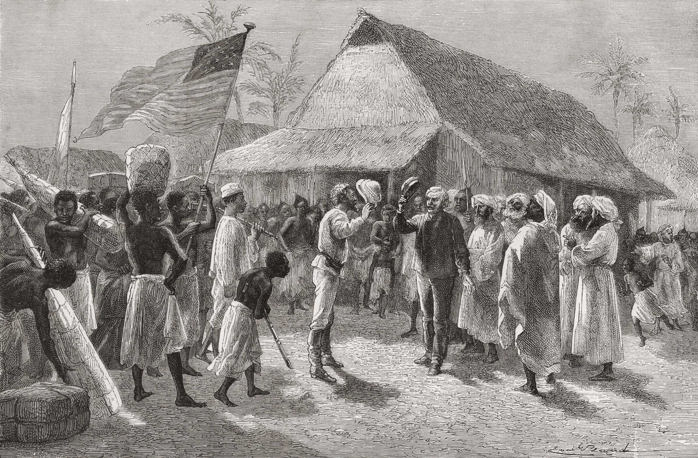 A depiction of the explorer's famous meeting with Henry Morton Stanley
