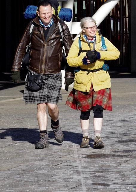 Karl Claridge, left, and Wren Chapman have spoken to people in England about Scottish independence on their journey