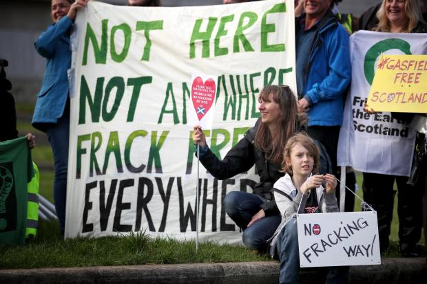 The National: Fracking plans have been met with protests by the Scottish public