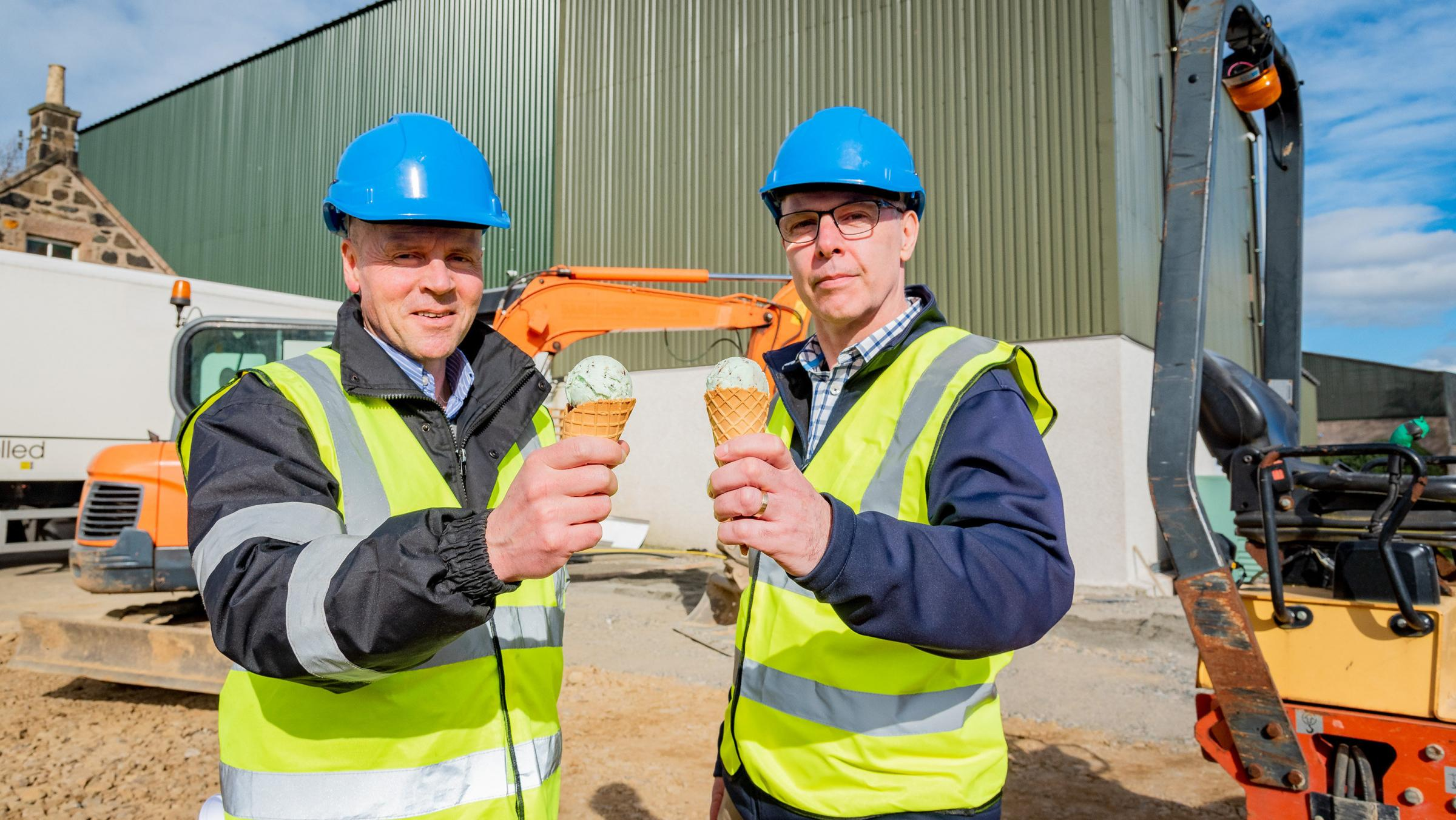 Finance director Gerry Stephens, right, sampling the product with MD Mac Mackie