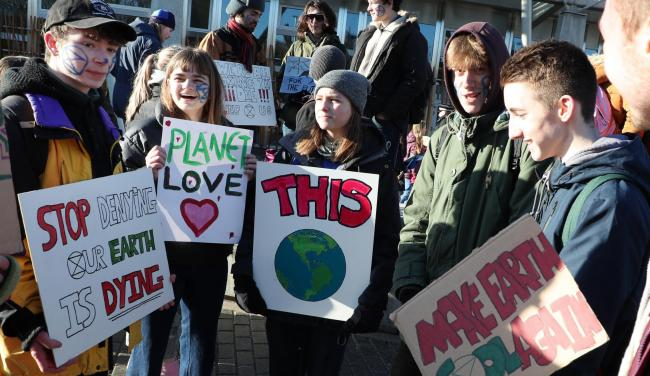 Environmental campaigners rallied outside