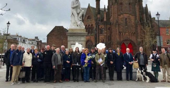 Dumfries and Galloway Pensioners for Independence were joined by SNP MSP Emma Harper (centre) for White Rose Day