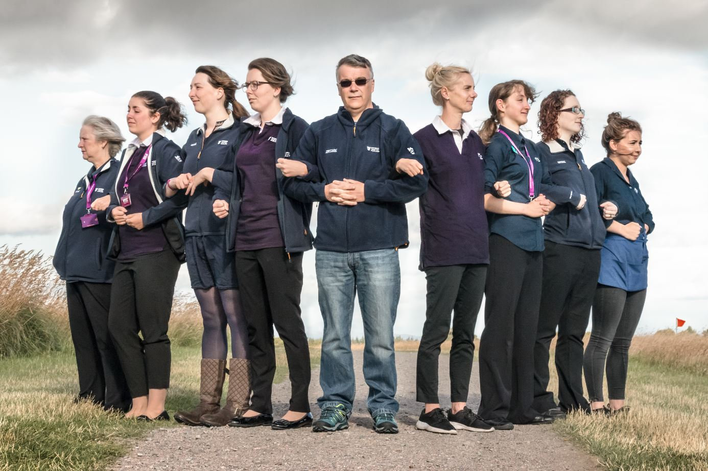 From left: Rosanna Jarvie, Astrid Joergensen, Catriona McIntosh, Emily Dueholm, Tim Belton, Sheena Huber, Holly Whitfield, Debbie Reid and Emma McIntosh