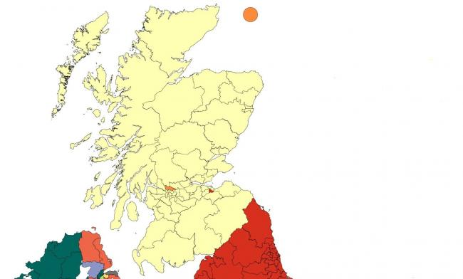 The Scottish Conservatives face being wiped off the map. Photograph: Election Maps UK