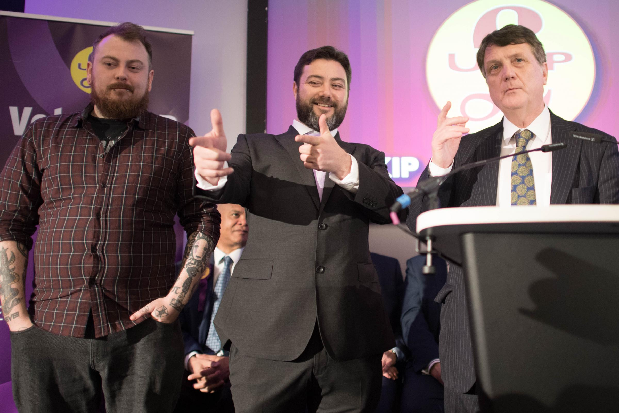 From left: Mark Meechan, Carl Benjamin (aka Sargon of Akkad) and Gerard Batten