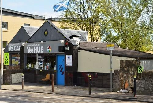 A veteran campaigner says he was attacked in the Edinburgh Yes Hub