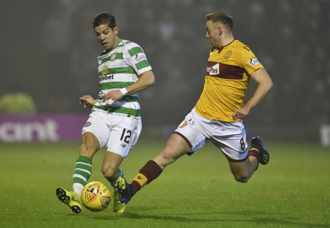 Motherwell midfielder Allan Campbell, right, in action against Cristian Gamboa of Celtic last season.