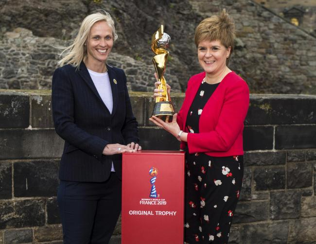 Nicola Sturgeon and Shelley Kerr with the FIFA Women's World Cup at Edinburgh Castle