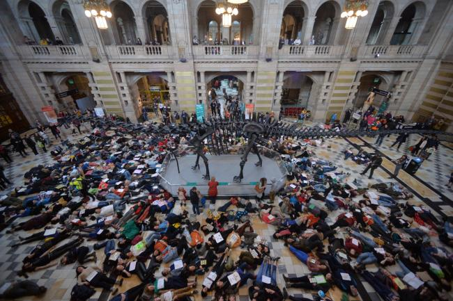 Extinction Rebellion recently staged a 'die-in' protest at Dippy in Kelvingrove Museum to highlight the threat of climate change. Photograph: Kirsty Anderson