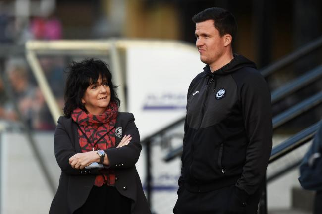 23/04/19 LADBROKES CHAMPIONSHIP AYR UNITED v PARTICK THISTLE (0-1) SOMERSET PARK - AYR Partick Thistle manager Gary Caldwell (R) with chairman Jacqui Low.