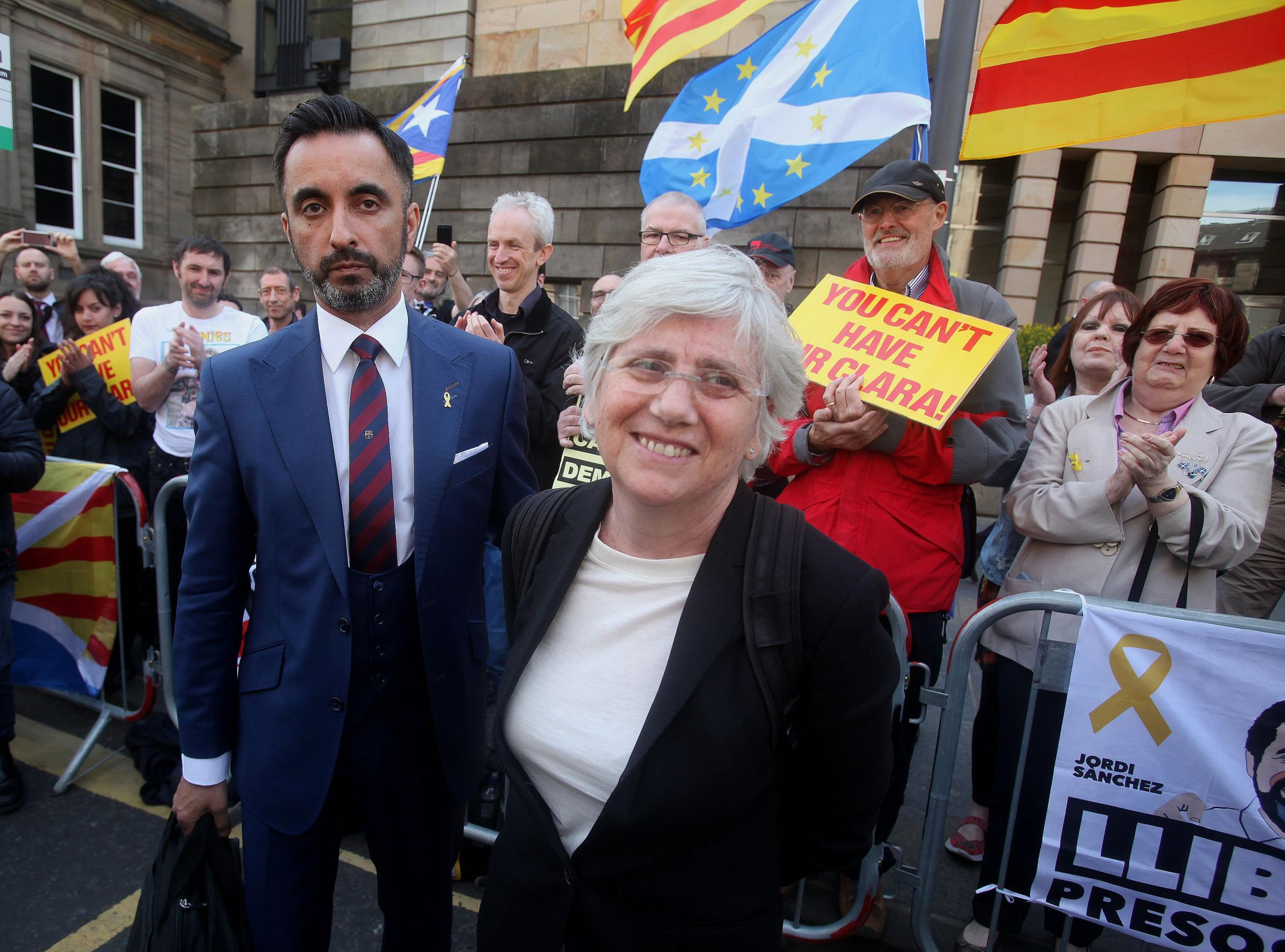 Clara Ponsati and lawyer Aamer Anwar leave Edinburgh Sheriff Court tuesday after trial hearing..Pic Gordon Terris/The Herald.15/5/18.