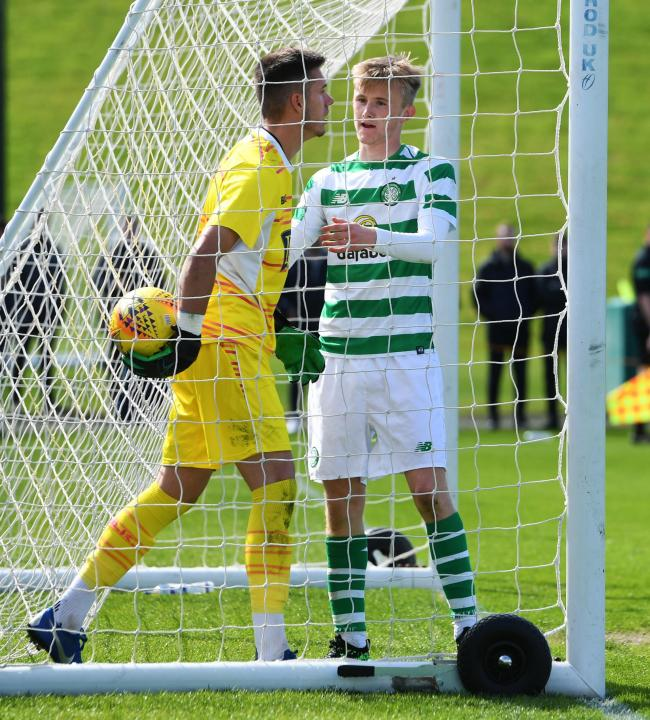06/05/19 SPFL RESERVE LEAGUE.CELTIC RESERVES v ST JOHNSTONE RESERVES.LENNOXTOWN.Ewan Henderson tries to retrieve the ball quickly from St Johsntone's Ross Sinclair (L) after Mikey Johnston (not pictured) makes it 1-1..